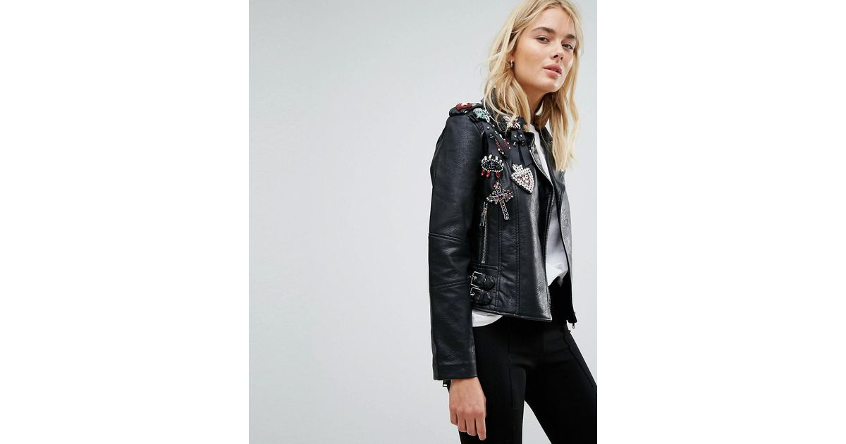 sneakers for cheap latest collection sneakers Mango Black Embellished Faux Leather Jacket