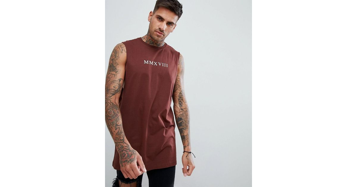 78b71457 ASOS Design Sleeveless T-shirt With Dropped Armhole With Roman Numerals  Print in Red for Men - Lyst