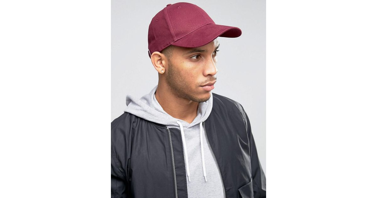 bb3c7885a9a8c Lyst - ASOS Baseball Cap In Burgundy in Red for Men
