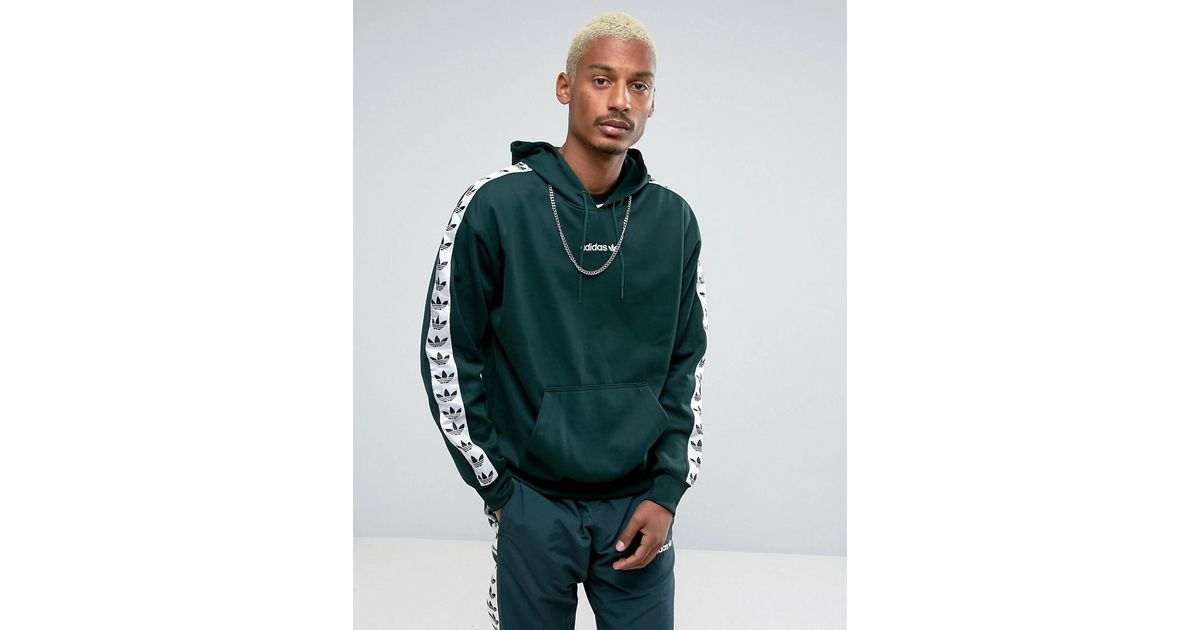 Adidas Originals Adicolor Tnt Tape Hoodie In Green Bs4689 In Green