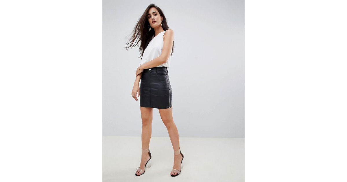5bd65bc5c Lipsy Coated Mini Skirt With Zip Sides In Black in Black - Lyst