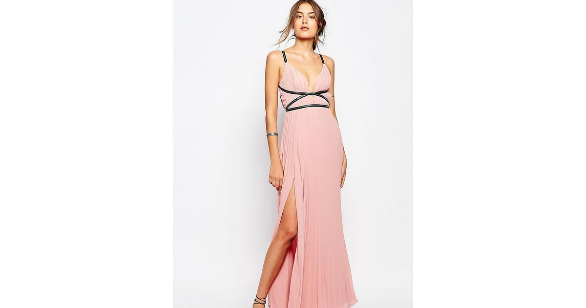 True Decadence Grecian Style Maxi Dress In Pleat Fabric in Pink - Lyst