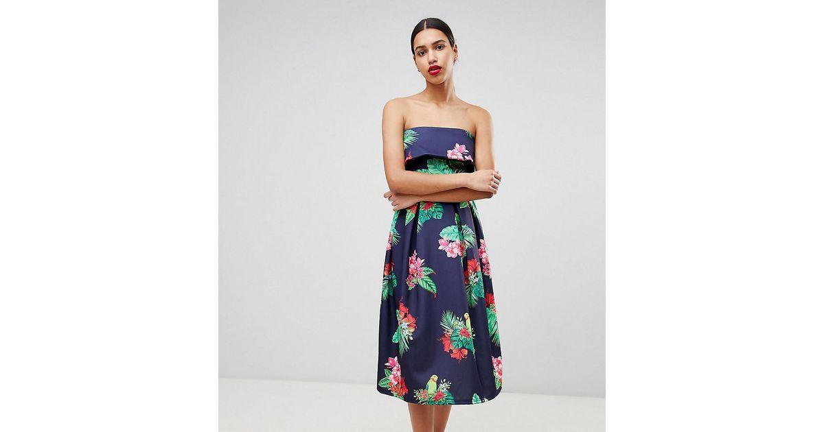 168f676241d True Violet Bandeau Midi Skater Dress in Blue - Lyst