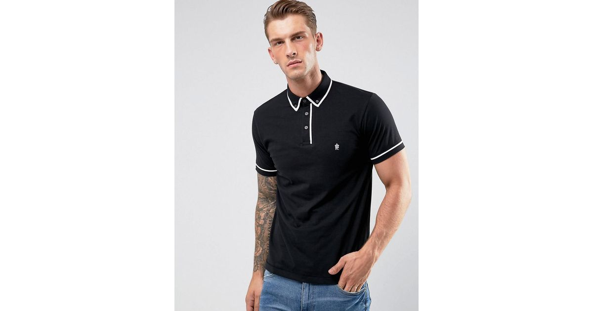 Lyst french connection short sleeve piping polo shirt in for French cut shirt sleeve
