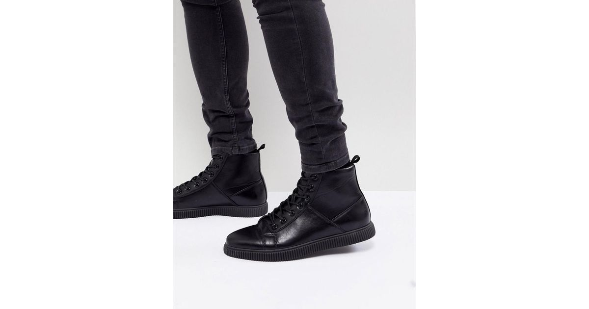 pick a best cheap price ASOS DESIGN Creeper Lace Up Boot In Black Faux Leather 2014 new sale online cheap low shipping clearance cheap online 4ArCzHs