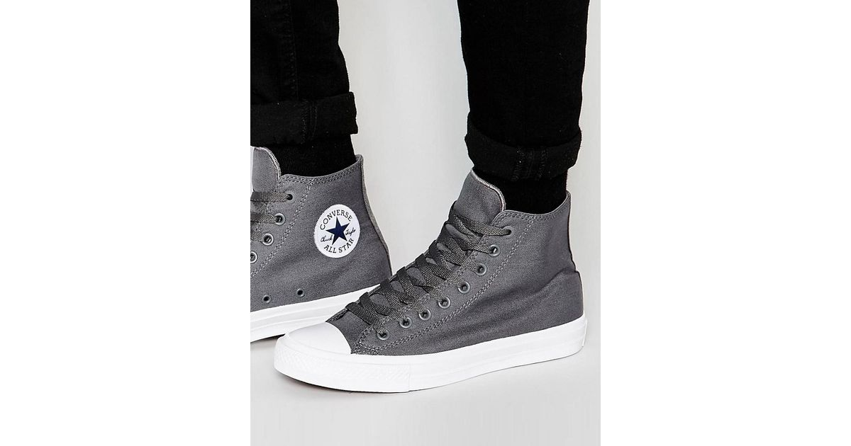 c08bf54d1244 Lyst - Converse Chuck Taylor All Star Ii Hi-top Plimsolls In Grey 150147c  in Gray for Men