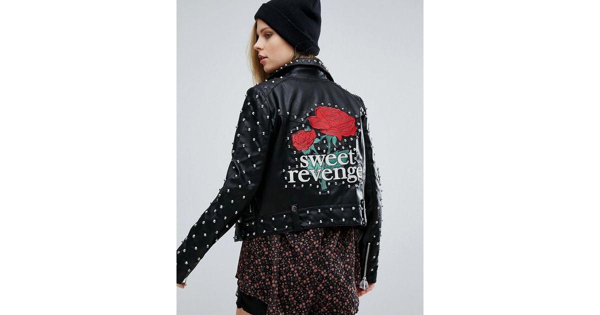 c100da22c4ff Pull&Bear Pull & Bear Star Studded Jacket in Black - Lyst