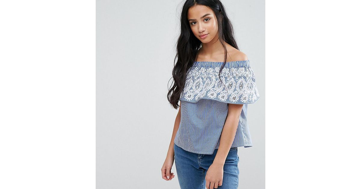 dd4c9753bf ASOS Stripe Off Shoulder Top With Embroidery in Blue - Lyst