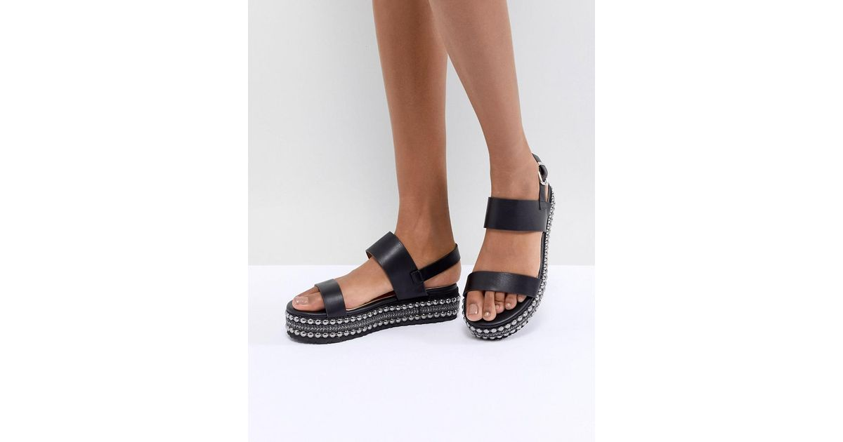 Glamorous Black Embellished Flatform Sandals clearance order clearance store cheap price sale 2015 oxWDI