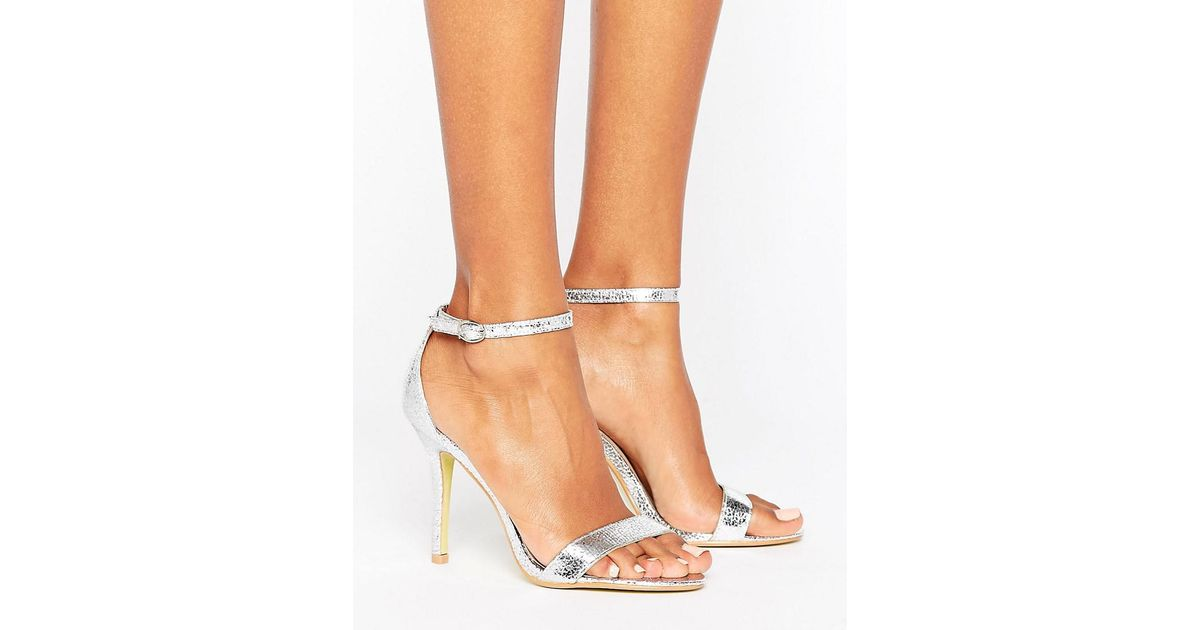 Glamorous Silver Patent Two Part Heeled Sandals in Metallic - Lyst