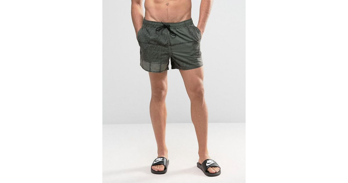 f2937d9861 ASOS Swim Shorts With Khaki Check In Short Length in Green for Men - Lyst