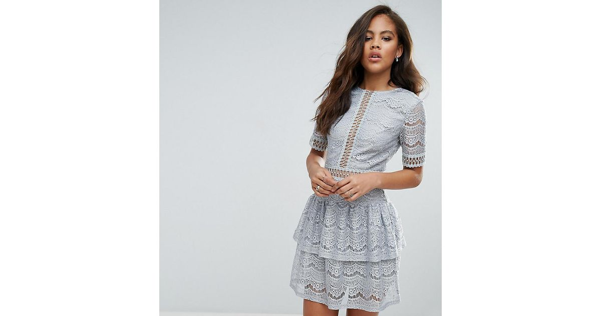 f8a117a9ad9d Missguided Lace Ladder Trim Ruffle Hem Dress in Gray - Lyst