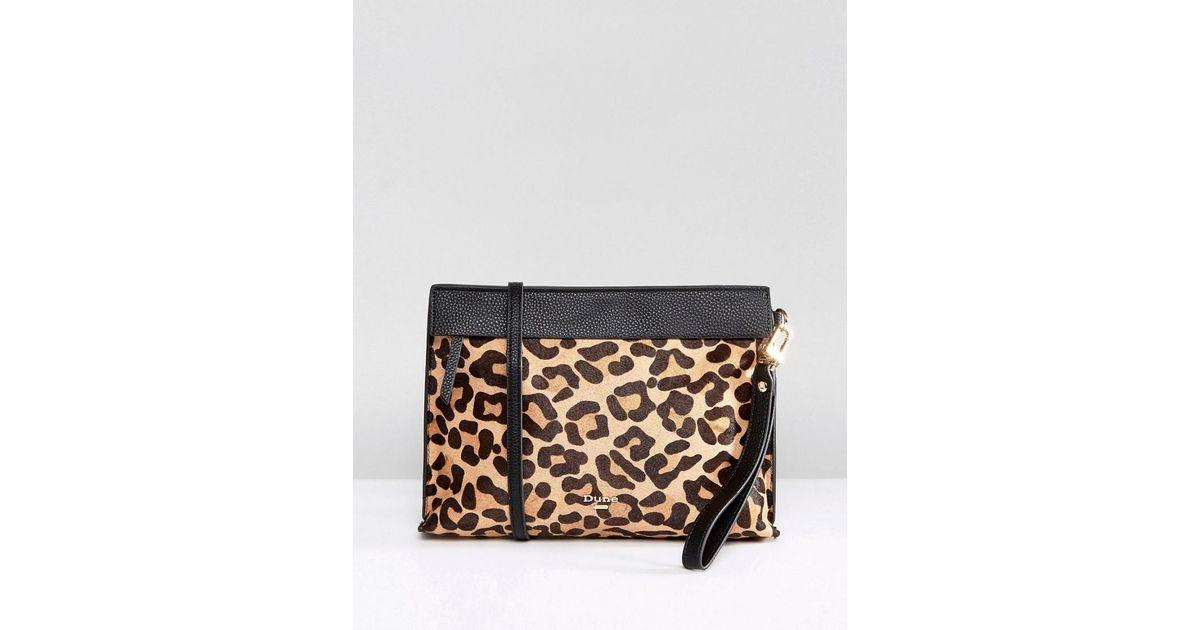 c76b2a5f1fd6 Lyst - Dune Leopard Print Clutch Bag With Crossbody Strap