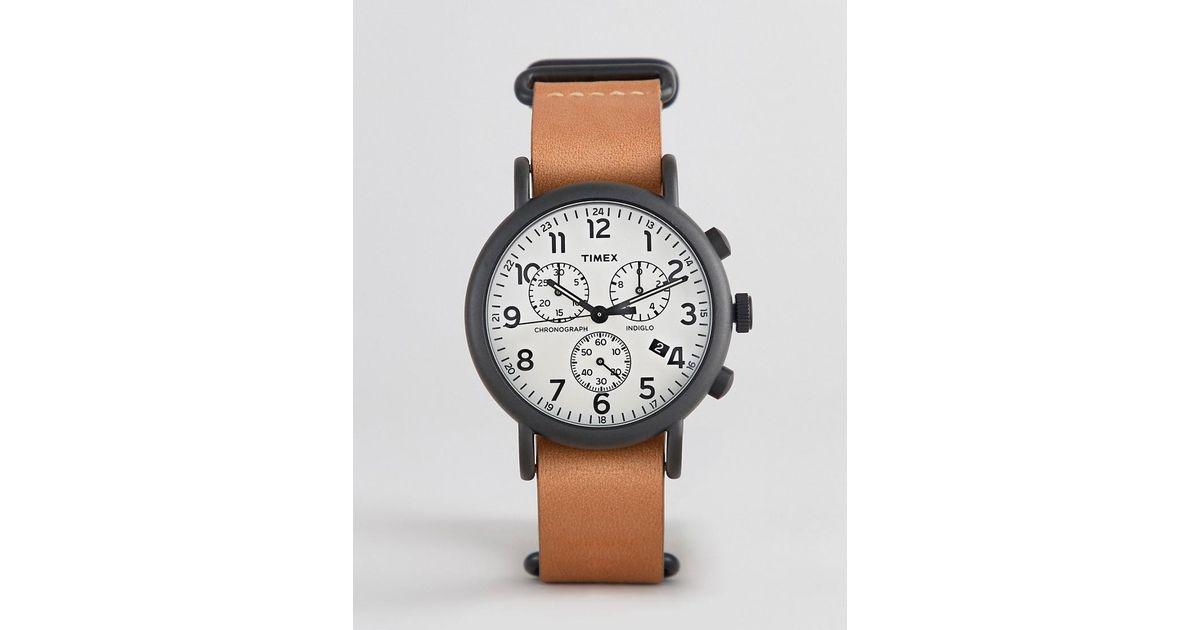 289f09924996 Reloj con cronmetro con correa de de cuero de 40 mm Weekender exclusivo en  ASOS de Timex de hombre de color Marrón - Lyst