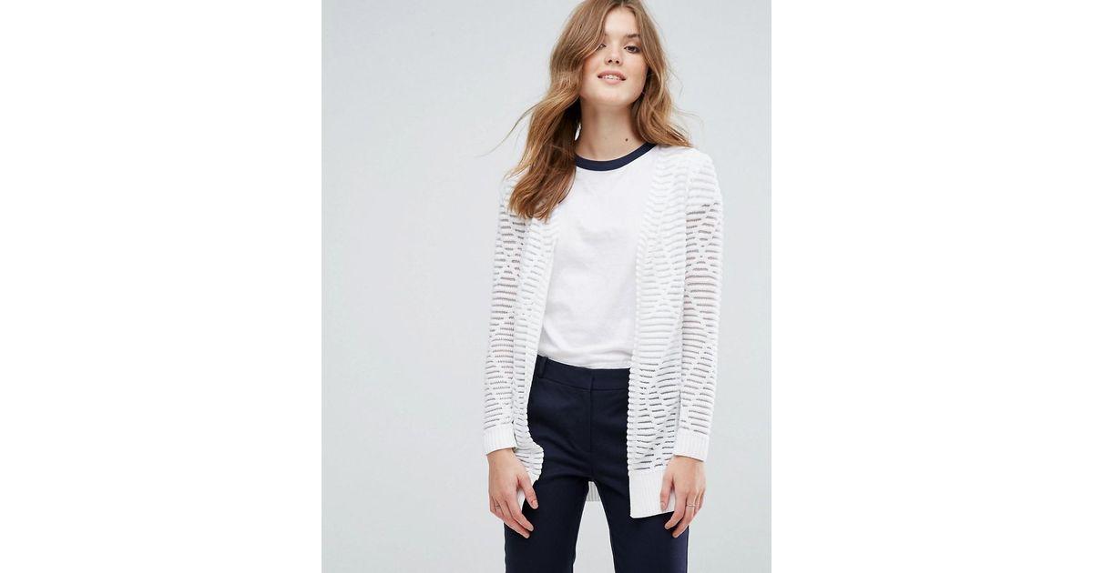 Lavand Longline Cardigan In Stripe in White | Lyst