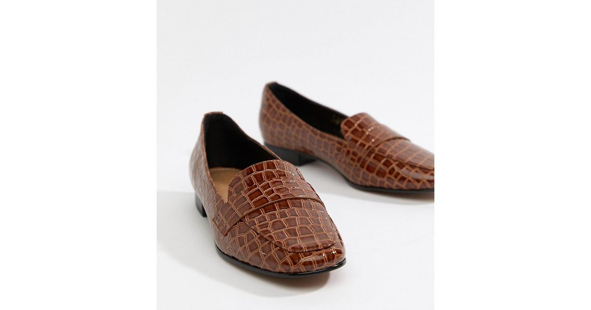 554b55cba ASOS Milestone Loafer Flat Shoes In Croc in Brown - Lyst