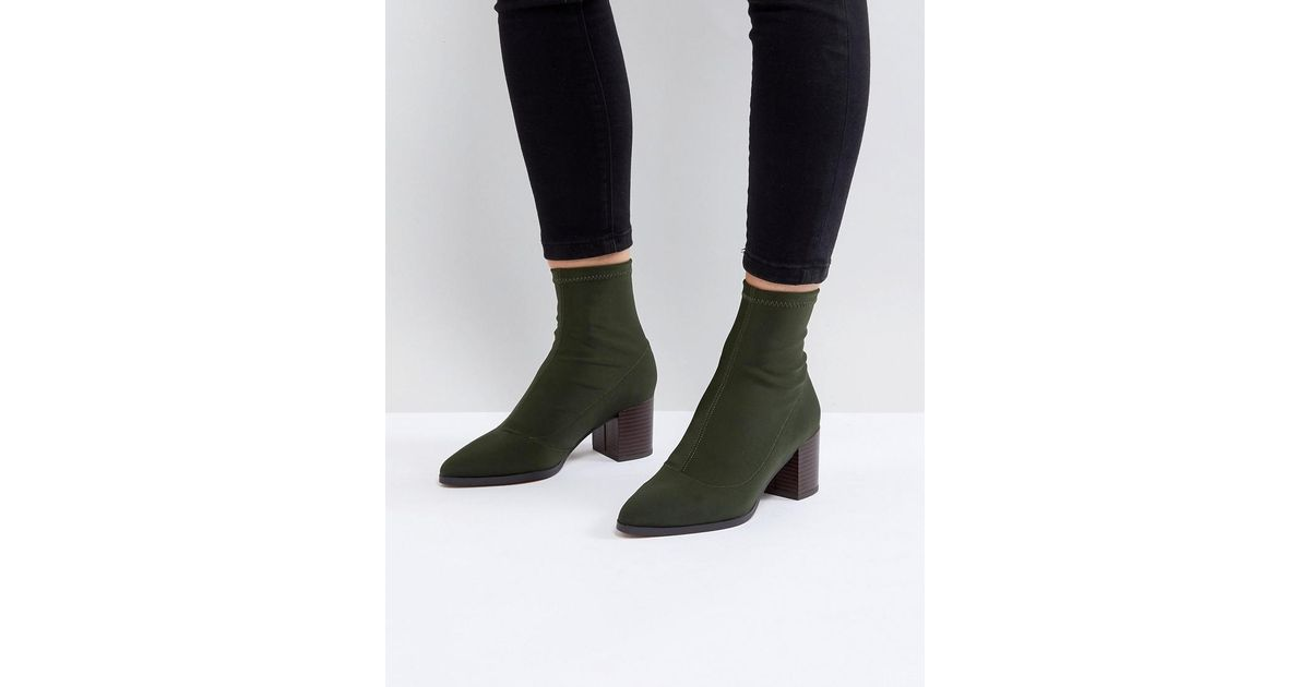 e70e1b78d2c2 ASOS Asos Ricky Mid Heeled Sock Boots in Green - Lyst