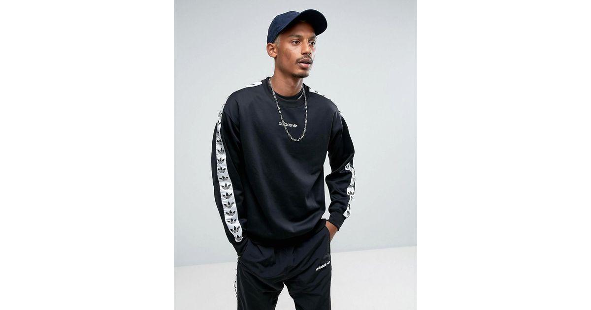 Lyst - adidas Originals Adicolor Tnt Tape Crew Sweatshirt In Black Br6748  in Black for Men bcd3ffb91a66
