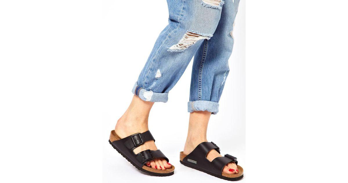 cda41f58b02e Lyst - Birkenstock Arizona Black Leather Two Strap Narrow Fit Sandals in  Black