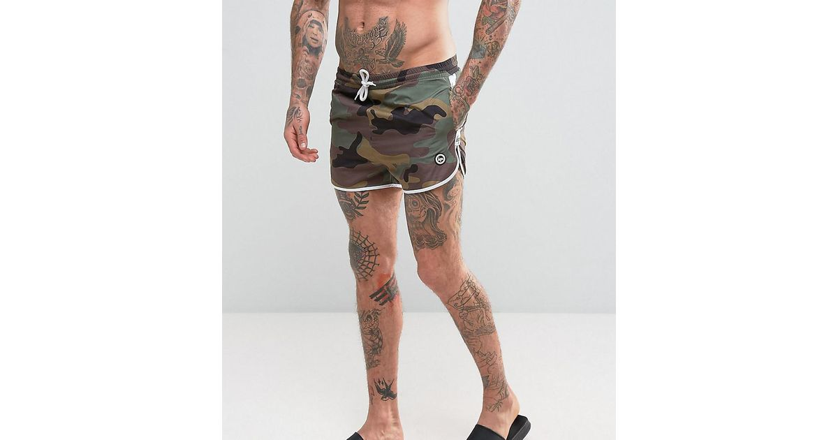32aa31f4920a4 Hype Swim Shorts In Camo With Taping in Black for Men - Lyst