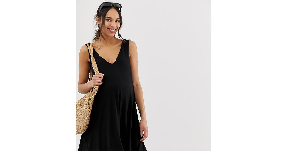 5d645fe91f Lyst - ASOS Asos Design Maternity Ultimate Swing Dress With Concealed  Pockets in Black