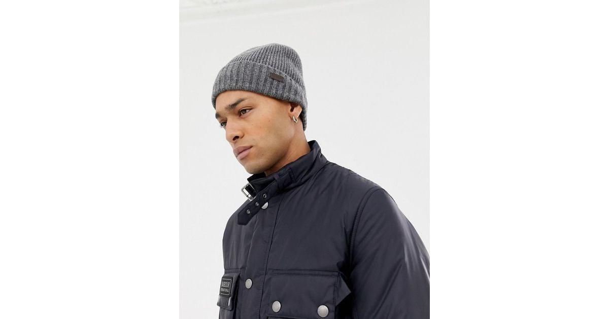 daa694bf99174 Barbour Carlton Fleece Lined Beanie Hat In Grey in Gray for Men - Lyst