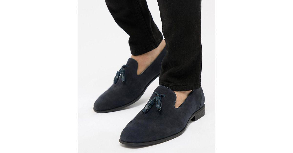 18f63fdaff4 ASOS Wide Fit Tassel Loafers In Navy Faux Suede in Blue for Men - Lyst