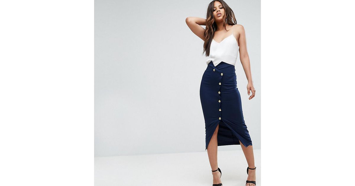 23d903dd67 ASOS Tailored High Waist Pencil Skirt With Military Button Detail in Blue -  Lyst