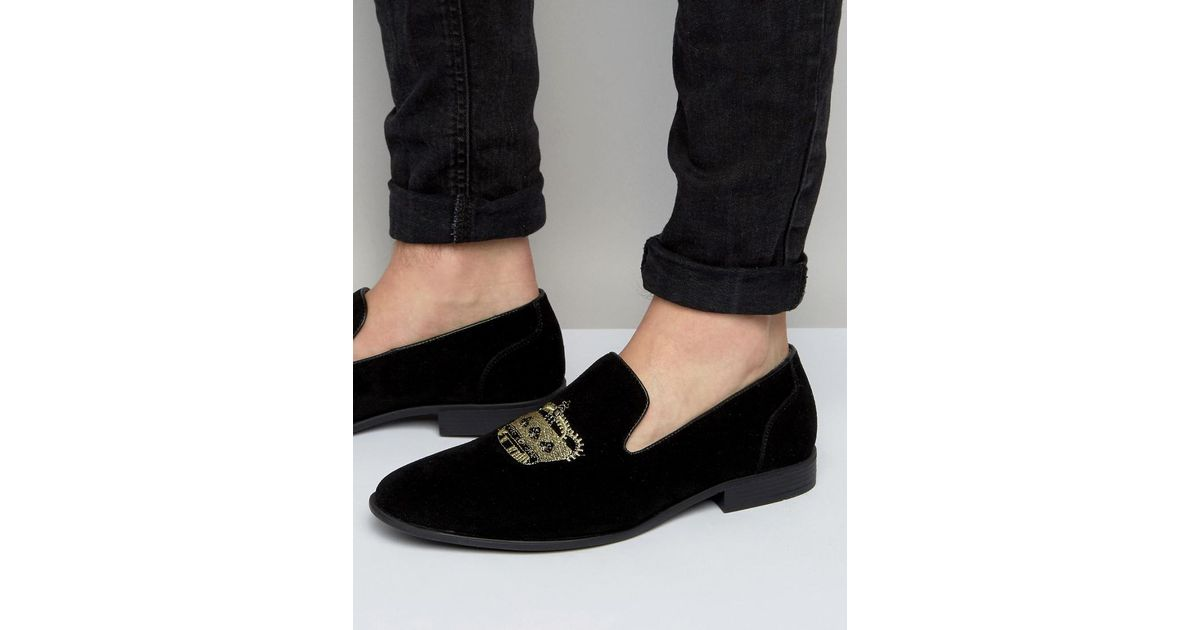 ASOS Loafers In Velvet With Crown Embroidery l1ZP0