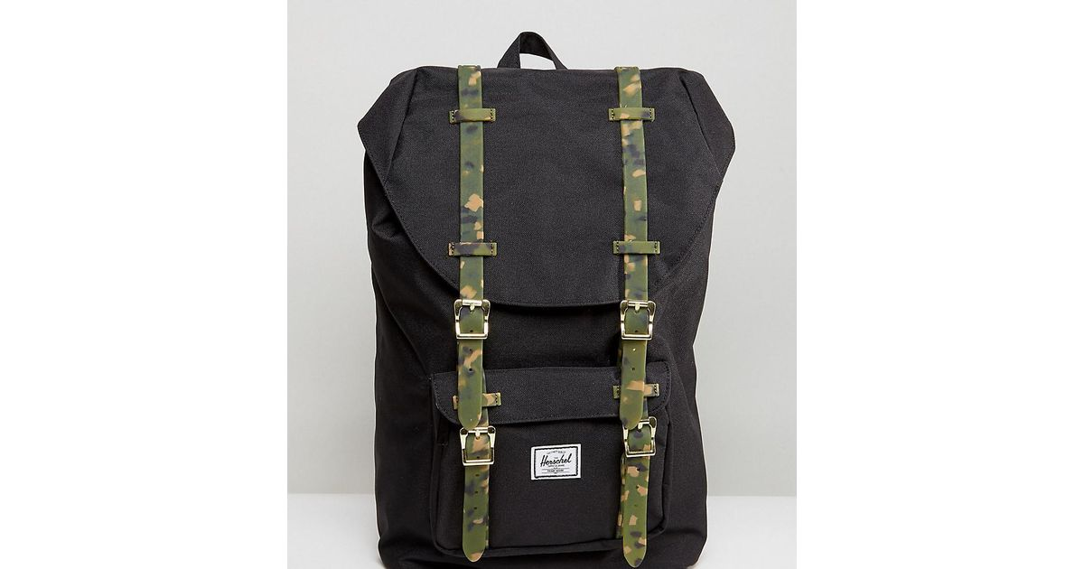 Herschel Supply Co. . Exclusive Little America Backpack With Camo Straps in  Black - Lyst fa741b722bc5c