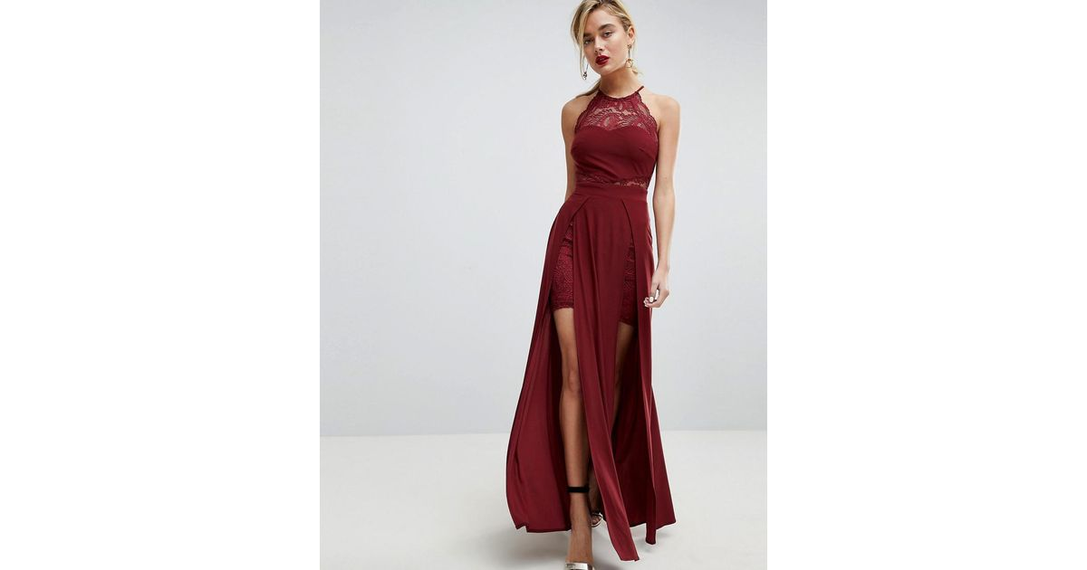 Lyst Asos Asos Lace High Neck Double Split Maxi Dress In Red