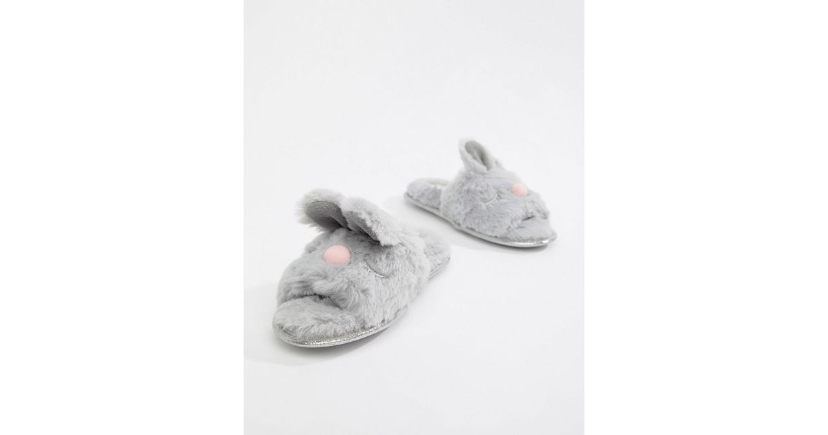 ba6f07c15aa Dune - Head Over Heels Flopsy Gray Fluffy Bunny Face Mule Slippers - Lyst