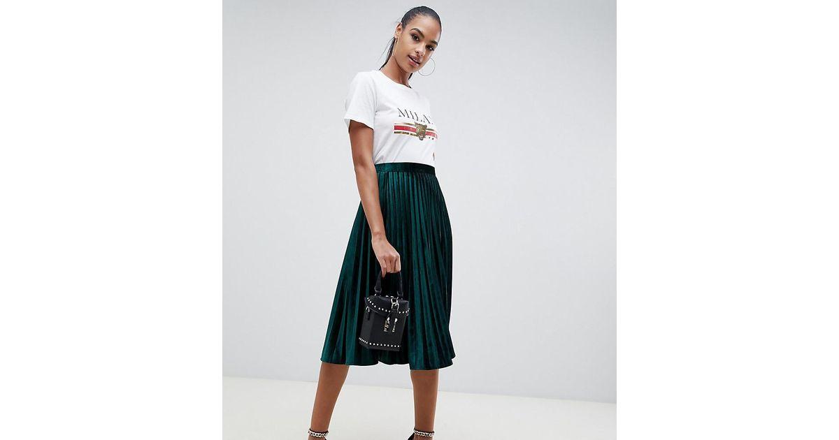 4452879d2 Missguided Pleated Velvet Midi Skirt In Green in Green - Lyst