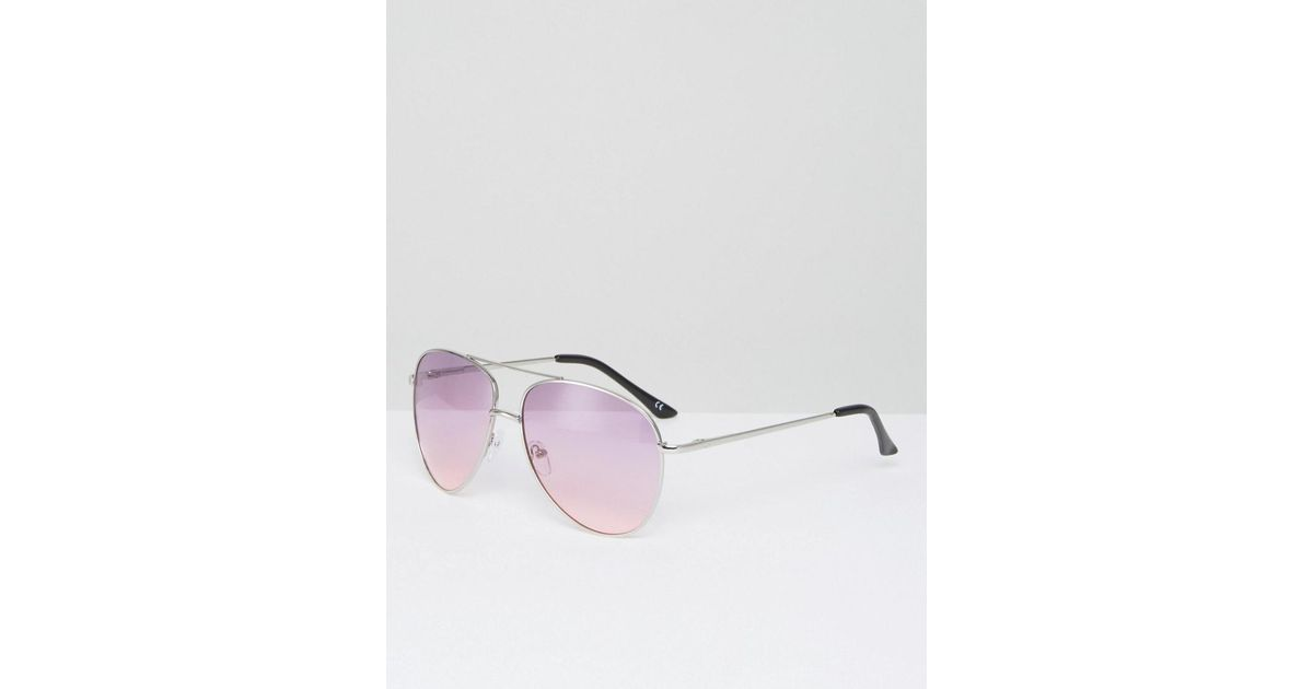 Lyst   Asos Metal Top Bar Aviator Sunglasses With Lilac Coloured Lens In  Metallic