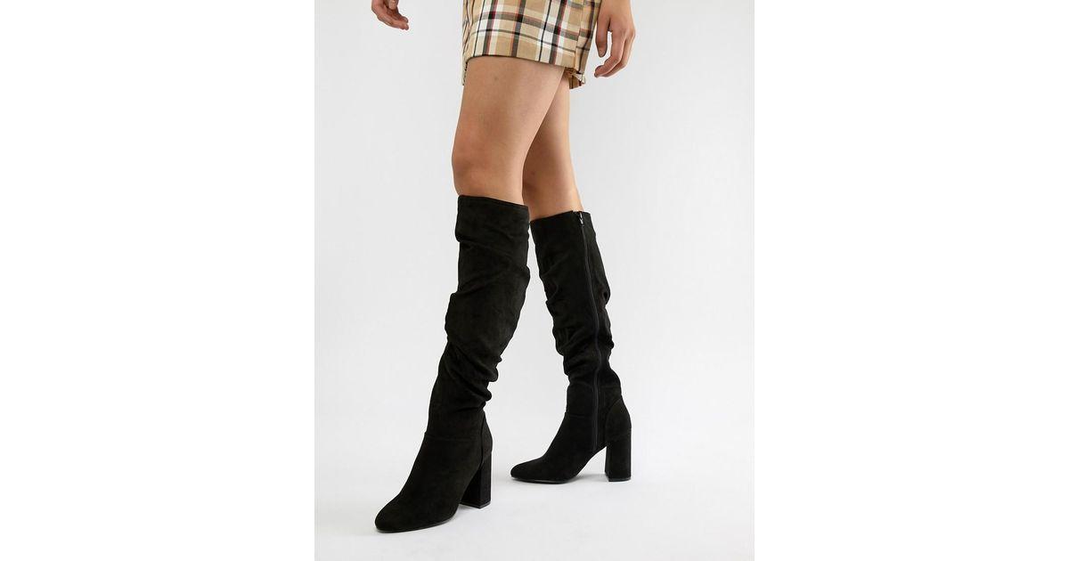 540ec3cef89 Lyst - London Rebel Heeled Knee Boots in Black
