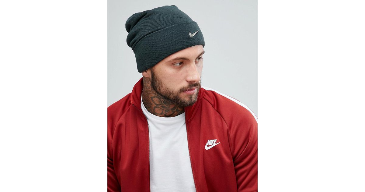6099e0bc1ab0b Nike Metal Swoosh Beanie In Green 803734-332 in Green for Men - Lyst