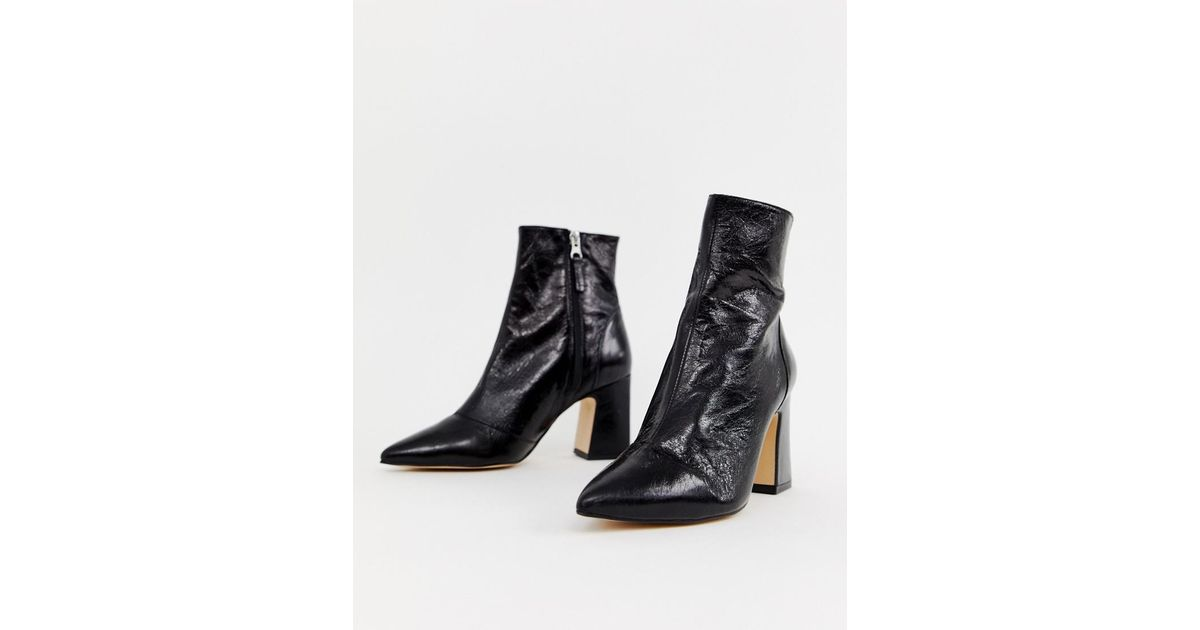 1e23a9a74 Office Alto Black Leather Mid Heeled Ankle Boots in Black - Lyst