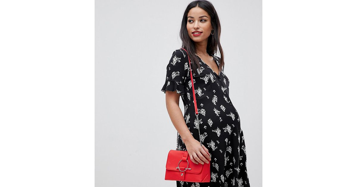 0f219fd21f3 ASOS Asos Design Maternity Button Through Tea Dress With Frill Sleeve In  Floral Print in Black - Save 32% - Lyst
