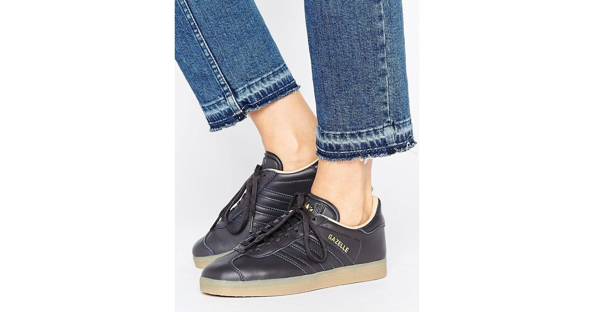 68cd1975f006 Lyst - adidas Originals Black Leather Gazelle Sneakers With Gum Sole in  Black