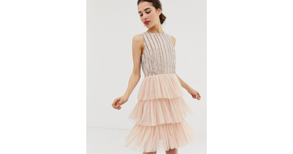 7d9395022738d7 Lyst - Angeleye Angel Eye Tiered Tulled Skater Dress With Embellished Upper  in Natural