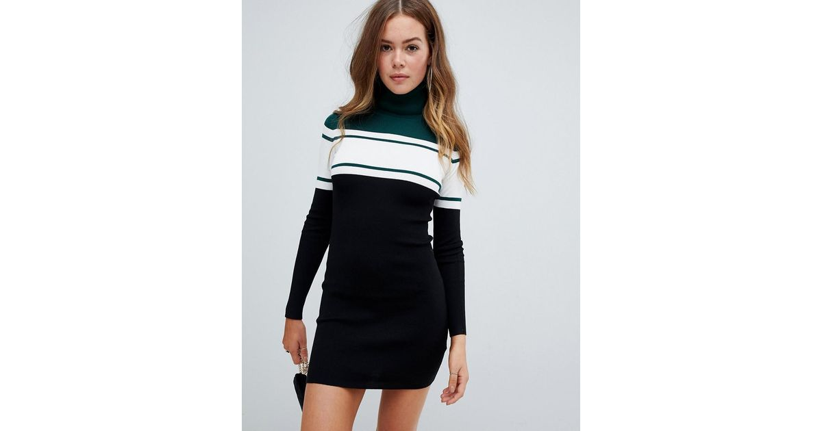 af71abc61f09 Missguided Color Block High Neck Knitted Mini Dress In Black in Black - Lyst