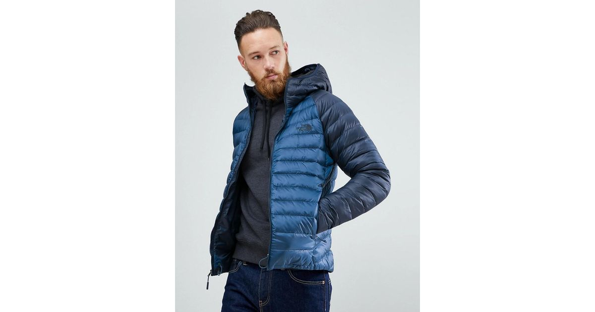 b774e810ed3a The North Face Trevail Hooded Lightweight Down Jacket In 2 Tone Blue in  Blue for Men - Lyst