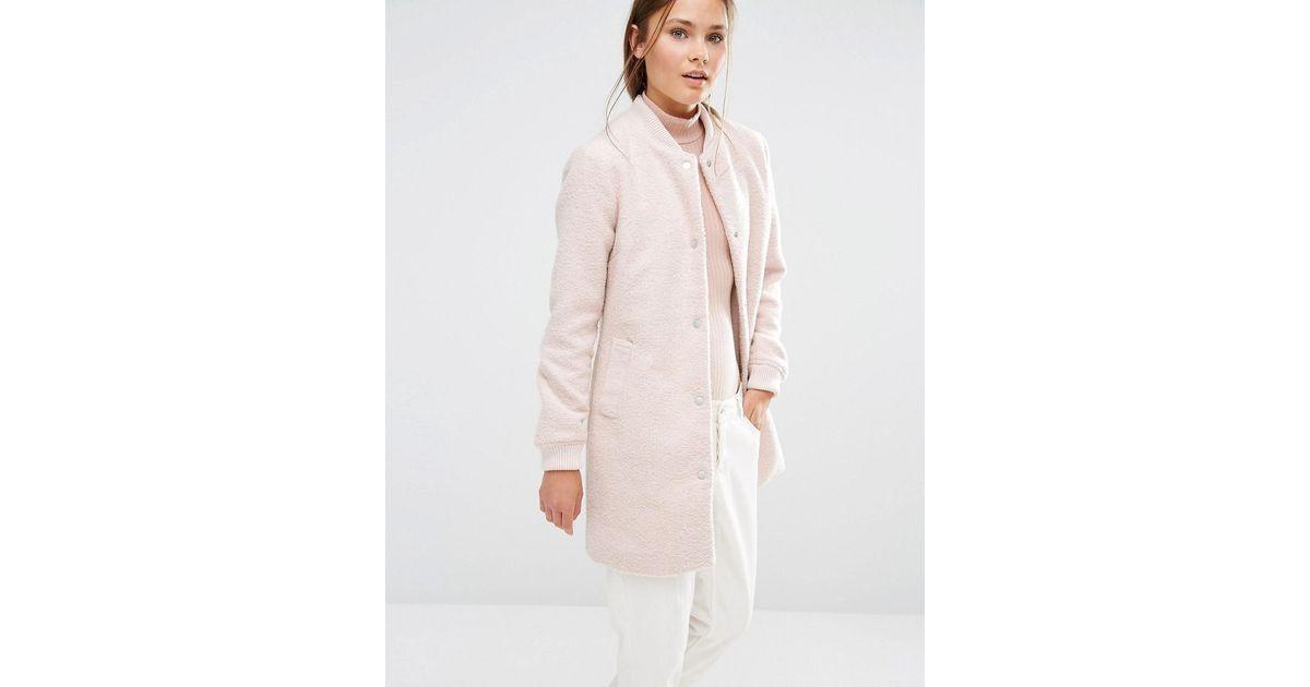 66066d6da New Look - Pink Wool Blend Longline Bomber Jacket - Lyst