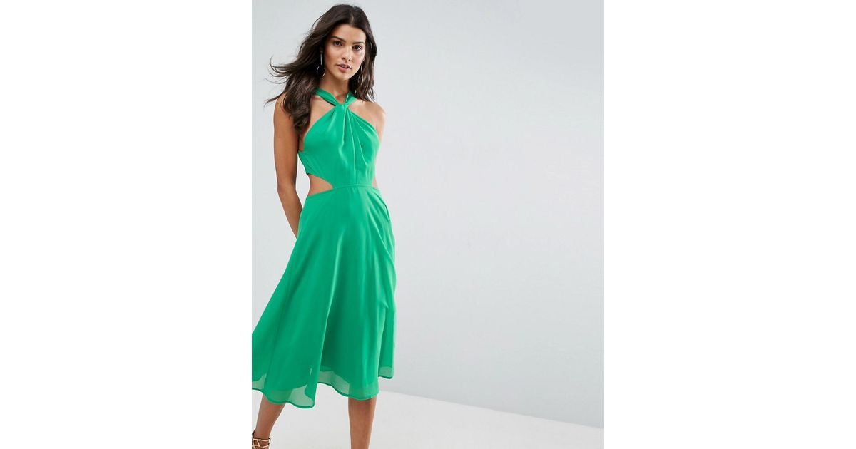 Lyst - Asos Side Cut Out Midi Dress With Twisted Neckline in Green