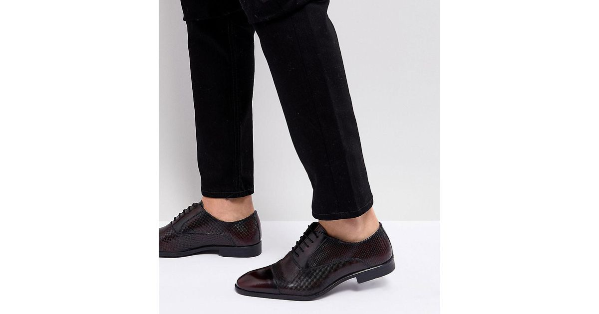 Wide Fit Oxford Shoes In Burgundy Leather With Laser Detail - Red Asos ZUjJDHS