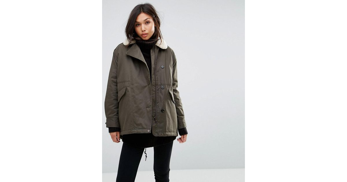 Parka london Zoe Swing Coat With Shearling Collar in Green | Lyst