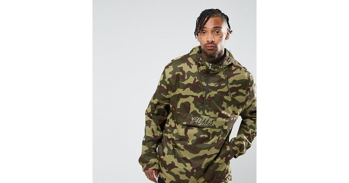 d7f11ccfe787a PUMA Pullover Windbreaker In Camo Print In Green Exclusive To Asos 57663601  in Green for Men - Lyst