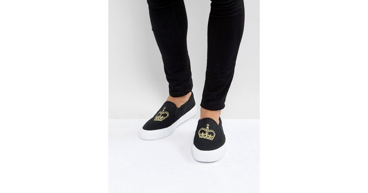 b182d465de764 ASOS Asos Slip On Sneakers In Black Canvas With Crown Embroidery in Black  for Men - Lyst