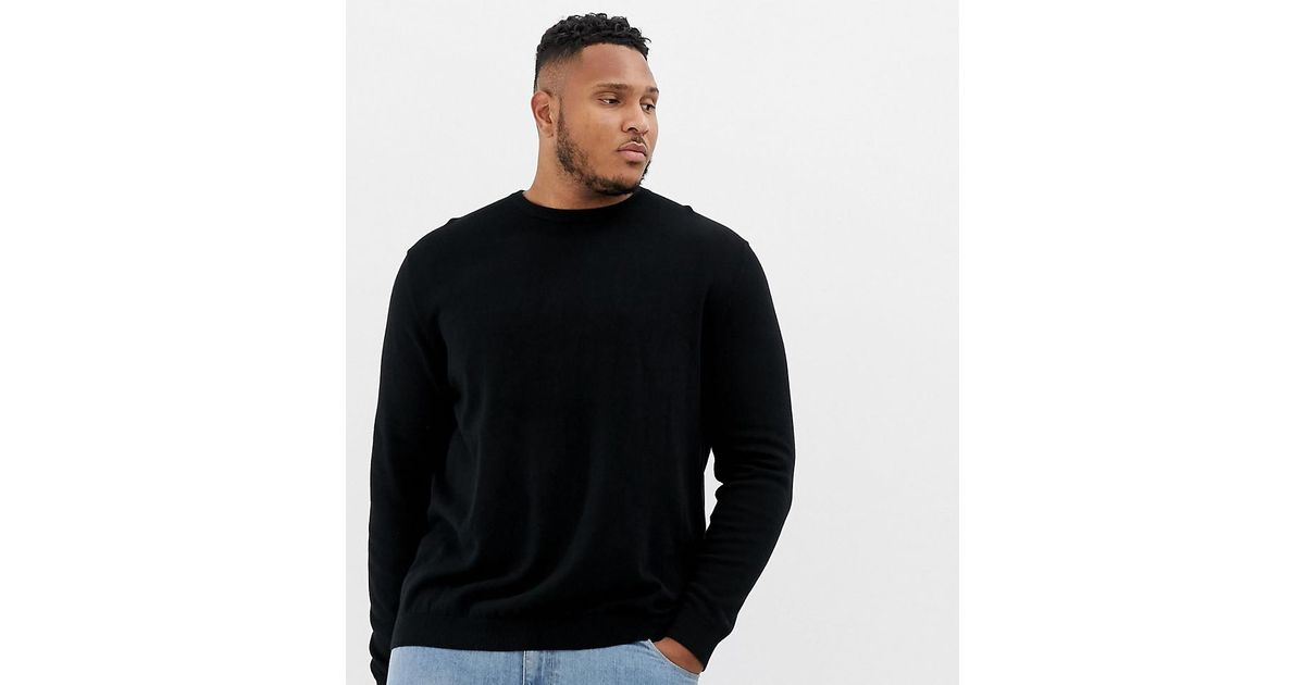 Lyst - Jack   Jones Essentials Plus Size Knitted Sweater in Black for Men 6980f7c089