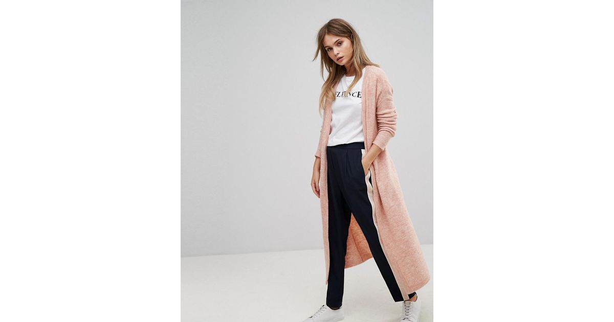 lyst vero moda long knitted cardigan in pink. Black Bedroom Furniture Sets. Home Design Ideas